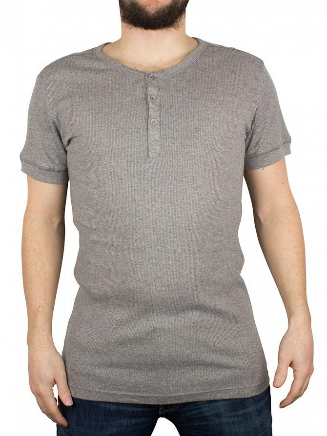 Levi's Middle Grey Melange 300 LS Cotton Rib Grandad T-Shirt