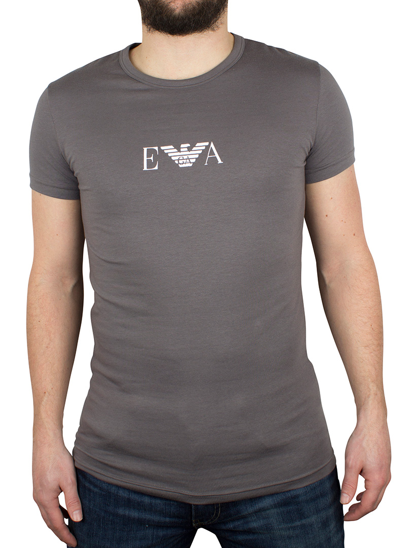 emporio armani light grey centre logo tshirt