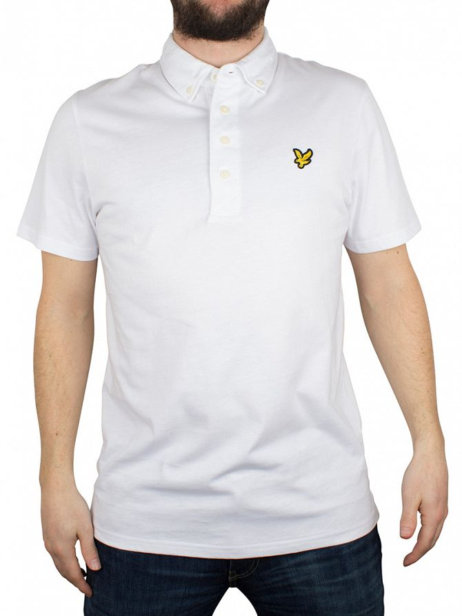Lyle & Scott White Jersey Logo Button Down Collar Polo Shirt