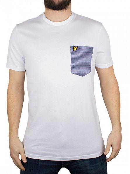 Lyle & Scott White Multi-Coloured Birdsey Logo Pocket T-Shirt