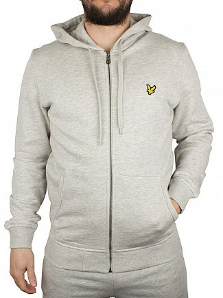 Lyle & Scott Light Grey Marl Logo Zip Through Hoodie