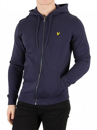 Lyle & Scott Navy Logo Zip Through Hoodie