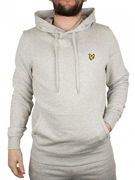 Lyle & Scott Light Grey Marl Pullover Logo Hoodie
