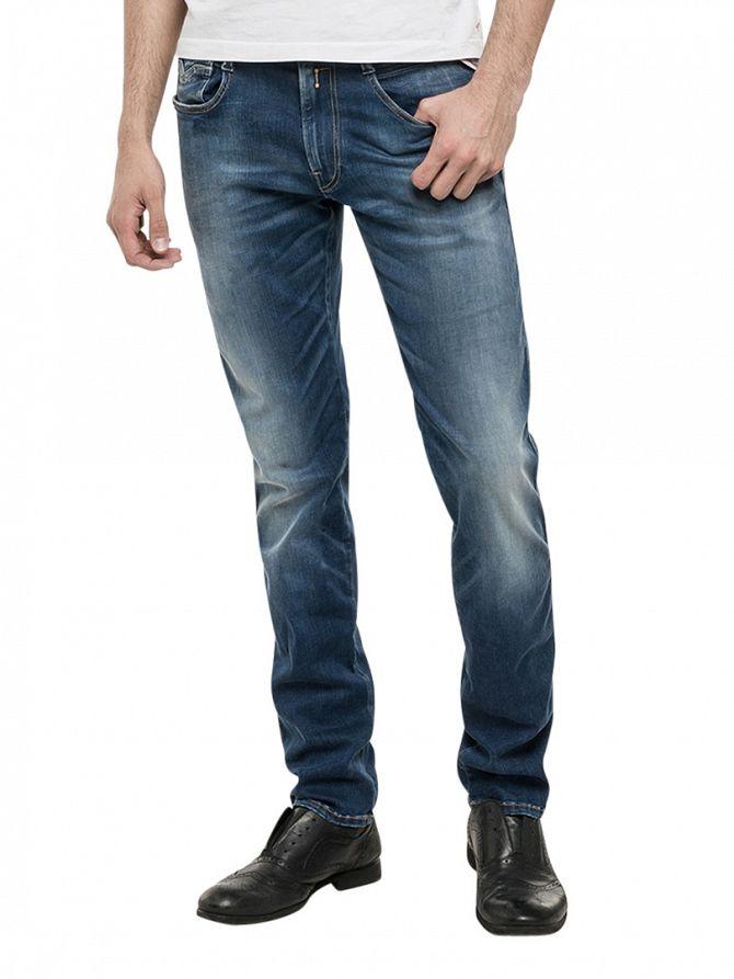 Replay Blue Denim Anbass Fit Hyperflex Jeans