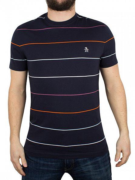 Original Penguin Dark Sapphire Pop Striped Logo T-Shirt
