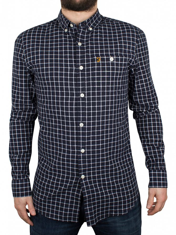 Farah Vintage True Navy Kenyon Slim Fit Checked Shirt