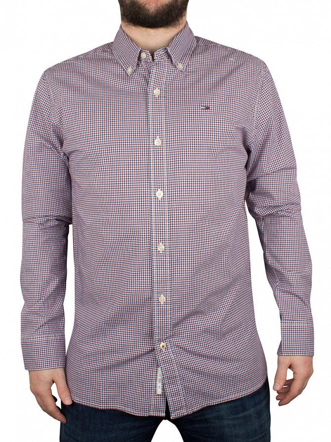 Hilfiger Denim Navy Blazer/Red Poplin Checked Shirt