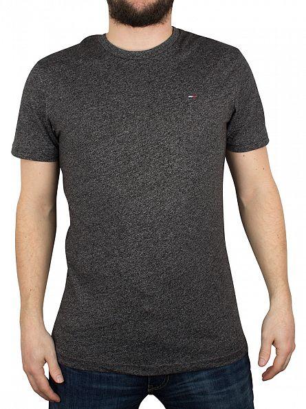 Hilfiger Denim Tommy Black Basic Jaspe Marled Logo T-Shirt