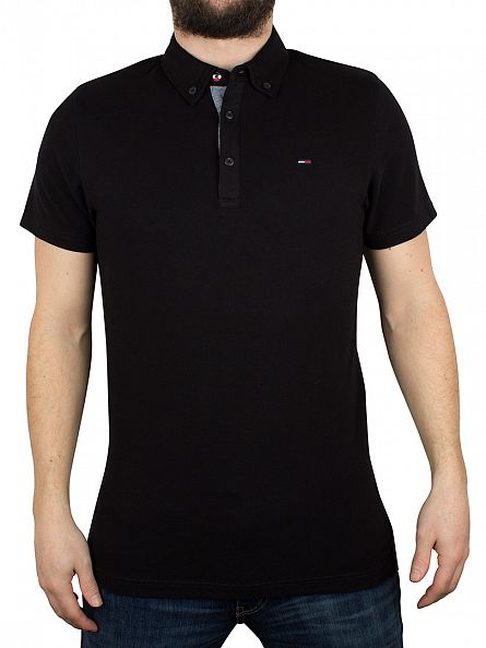 Hilfiger Denim Tommy Black Button Down Logo Polo Shirt
