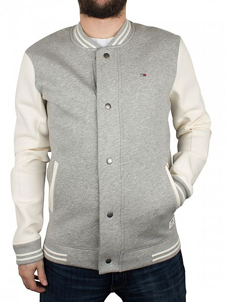 Hilfiger Denim Light Grey Heather/Marshmallow Neopreen Logo Varsity Jacket