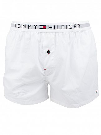 TOMMY HILFIGER WHITE ICON COTTON WOVEN LOGO BOXERS
