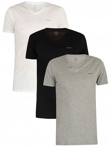 Diesel White/Black/Grey Marl 3 Pack Jake Plain Logo V-Neck T-Shirts