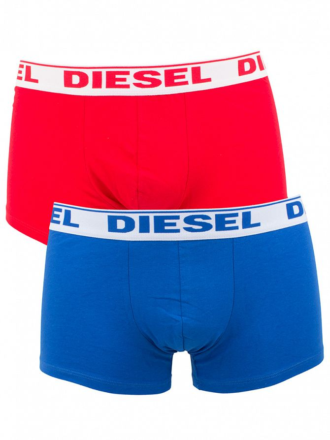 Diesel Blue/Red 2 Pack Shawn Logo Stretch Cotton Trunks