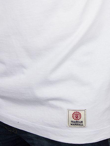 Franklin & Marshall White/Black Plain Longsleeved Raglan T-Shirt