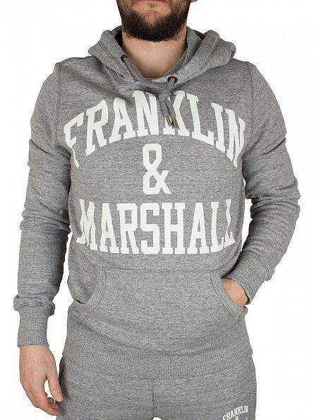 Franklin & Marshall Sport Grey Melange Arch Logo Hoodie Tracksuit