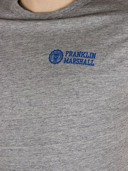 Franklin & Marshall Sport Grey Melange Stamp & Text Logo Marled T-Shirt