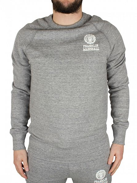Franklin & Marshall Sport Grey Melange Left Chest Logo Marled Sweatshirt Tracksuit