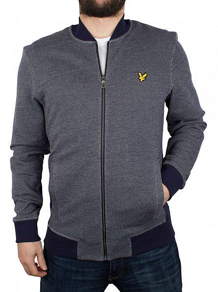 Lyle & Scott Navy Twill Look Zip Logo Jacket