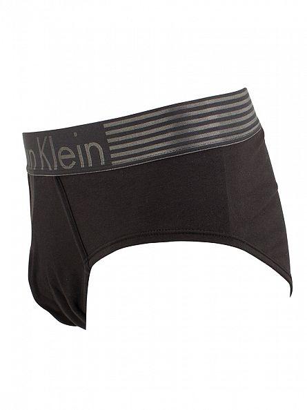 Calvin Klein Black Iron Strength Cotton Logo Hip Briefs