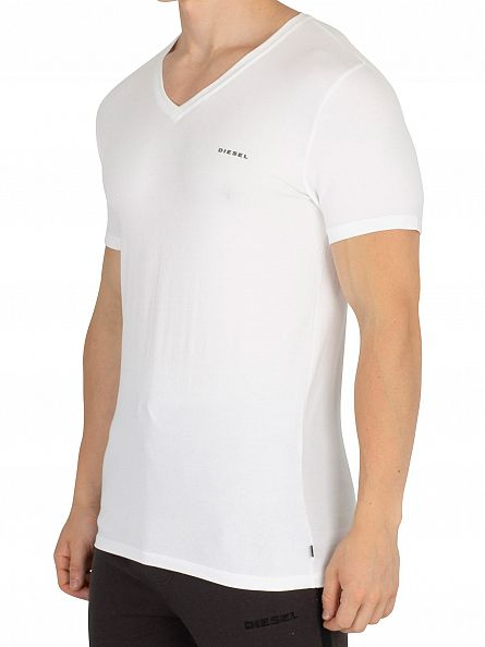 Diesel White Michael Plain Logo V-Neck T-Shirt