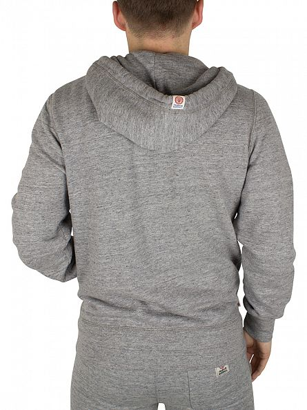 Franklin & Marshall Sport Grey Melange Left Chest Logo Marled Zip Hoodie
