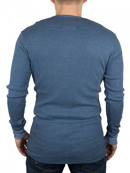 Levi's Ensign Blue 300 LS Longsleeved Cotton Rib Grandad T-Shirt