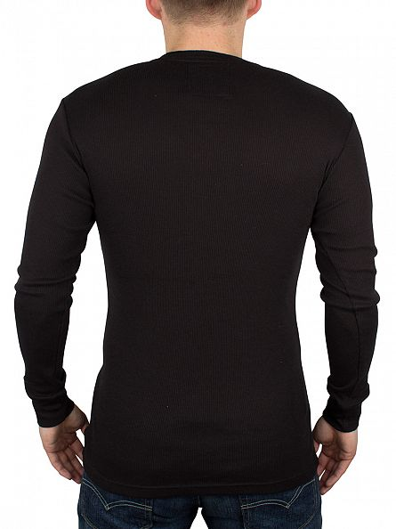 Levi's Jet Black 300 LS Longsleeved Cotton Rib Grandad T-Shirt