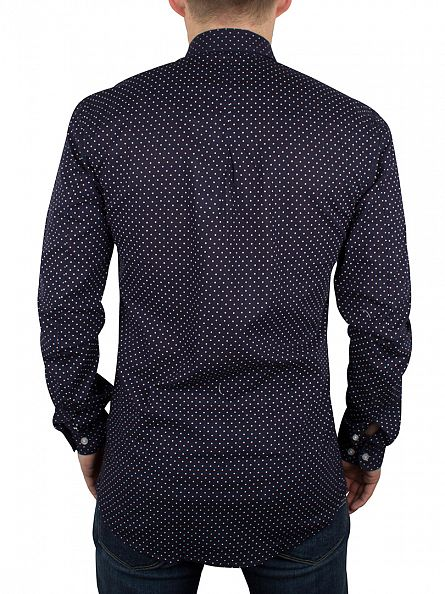 Minimum Dark Iris Pelham Slim Fit Polka Dot Shirt