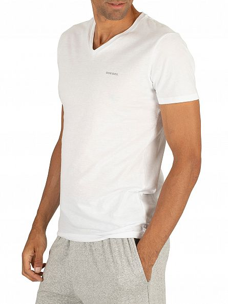 Diesel White 3 Pack Jake Plain Logo V-Neck T-Shirts