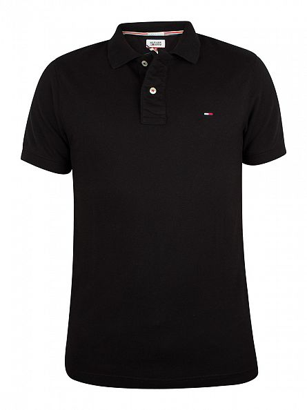 Hilfiger Denim Tommy Black Original Flag Logo Polo Shirt