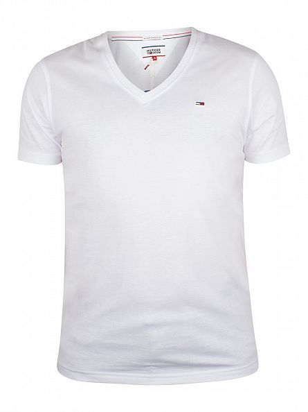 Hilfiger Denim Classic White V-Neck Logo T-Shirt