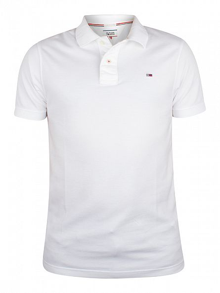 Tommy Hilfiger Denim Classic White Original Flag Logo Polo Shirt