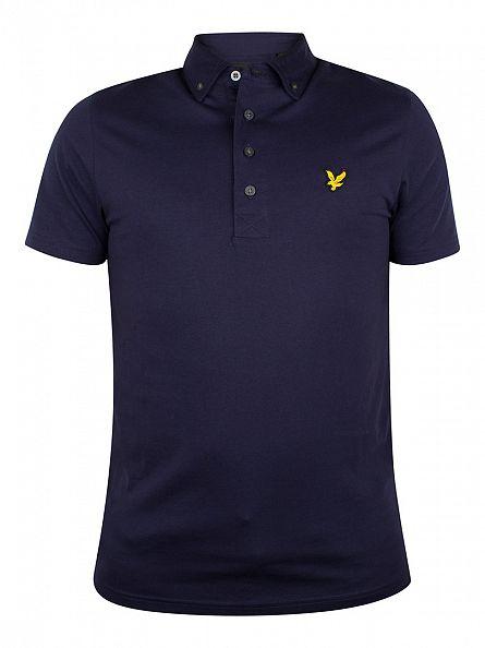 Lyle & Scott Navy Jersey Logo Button Down Collar Polo Shirt