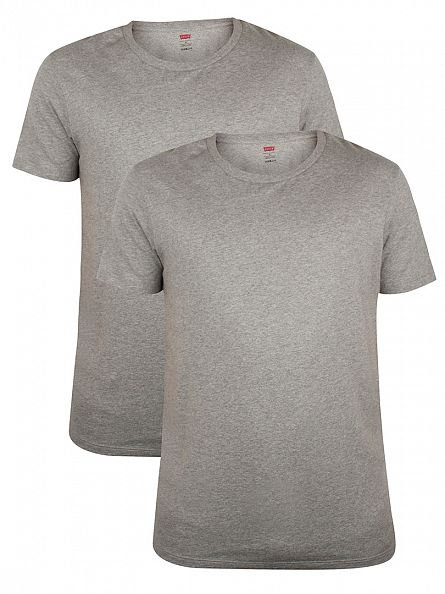 Levi's Middle Grey Melange 2 Pack 200 SF Plain Marled T-Shirt