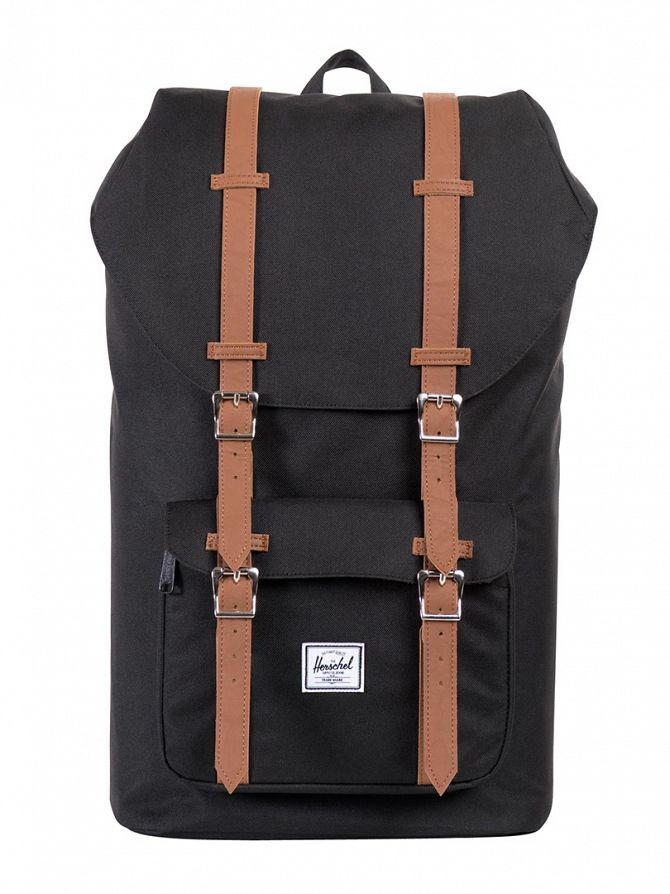 Herschel Supply Co Black/Tan Little America Straps Backpack
