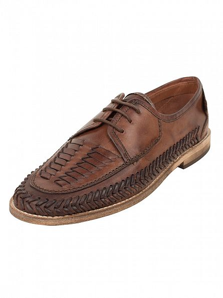 H by Hudson Cognac Brown Anfa Leather Shoes