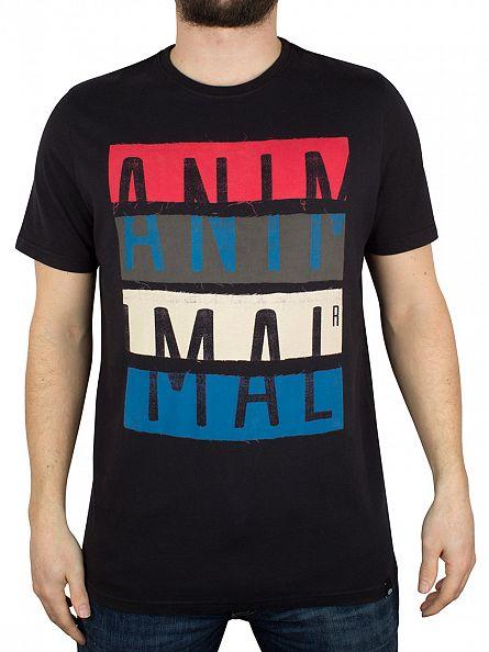 Animal Black Worn Graphic Logo T-Shirt