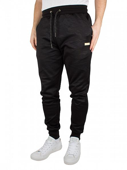Crooks & Castles Black Spotter Knit Pattern Joggers