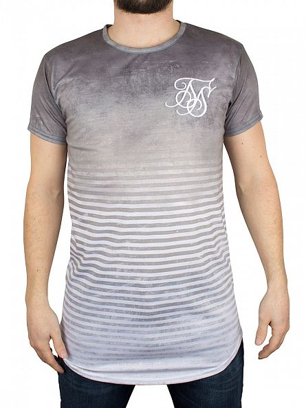 Sik Silk Khaki Stripe Distress Curved Hem T-Shirt