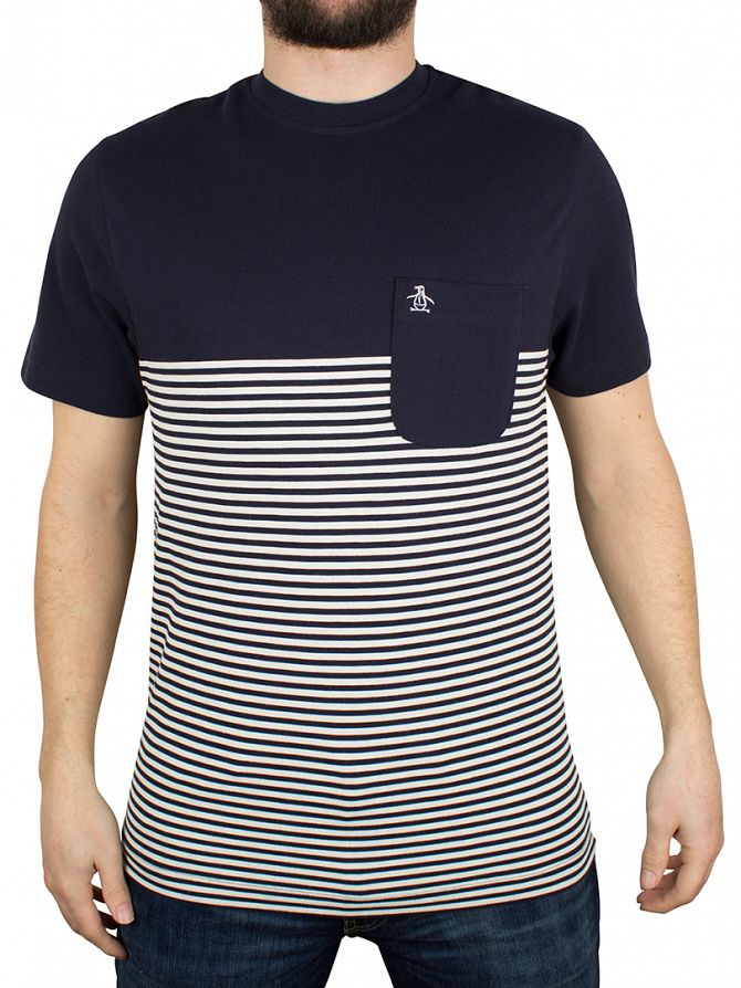Original Penguin Dark Sapphire Ryda Striped Pocket T-Shirt