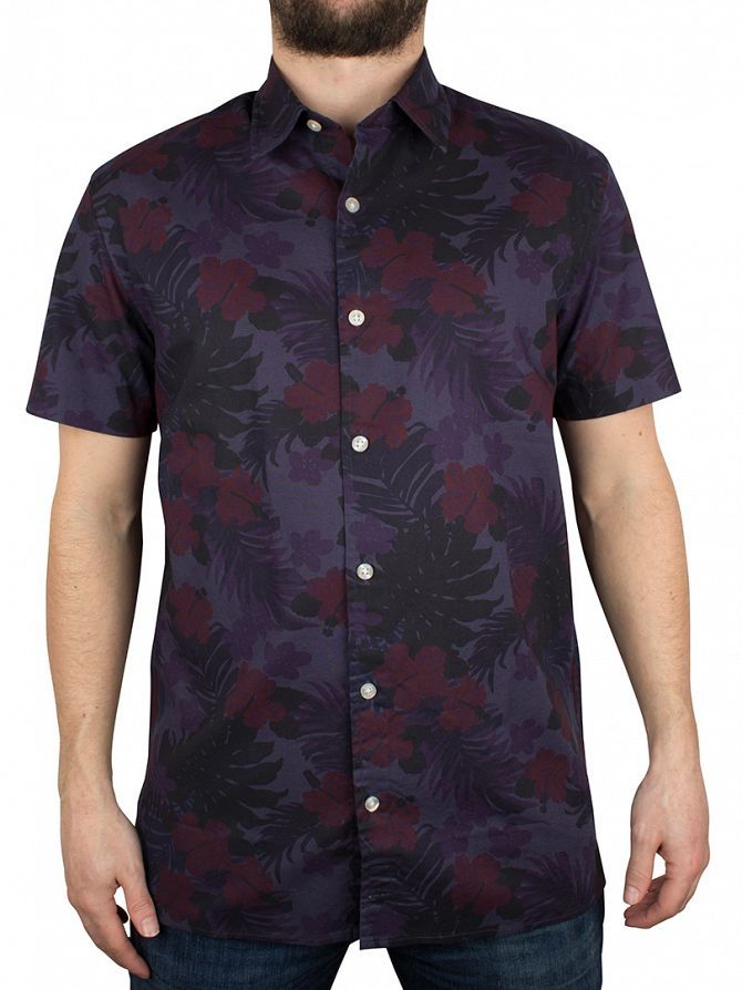 Edwin Navy Allover Garment Washed Nimes Shortsleeved Faded Floral Shirt
