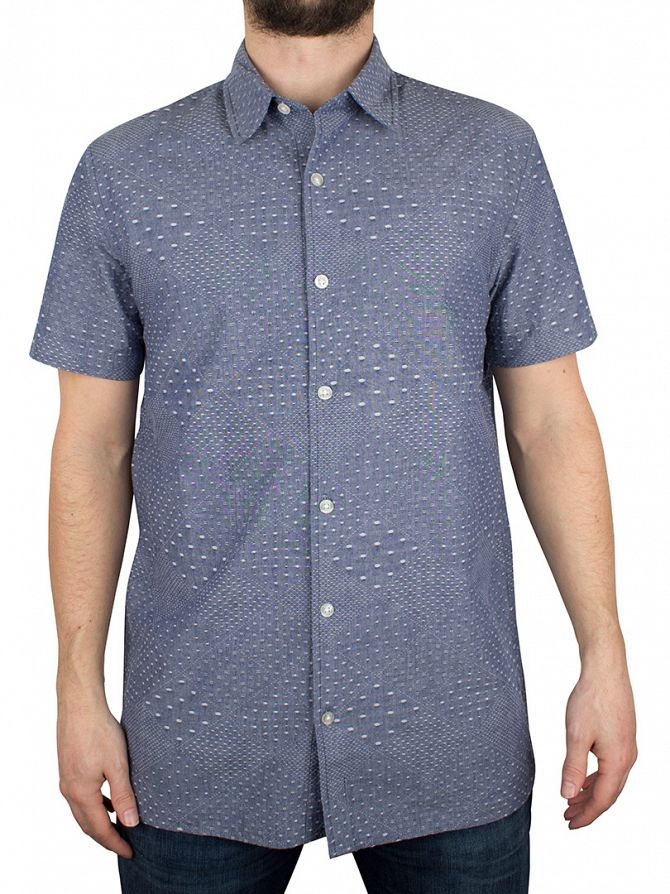 Edwin Dobby Blue Nimes Shortsleeved Chambray Dobby Shirt