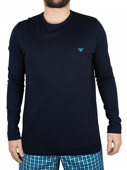 Emporio Armani Marine Checked Lining Longsleeved Logo Pyjama Top
