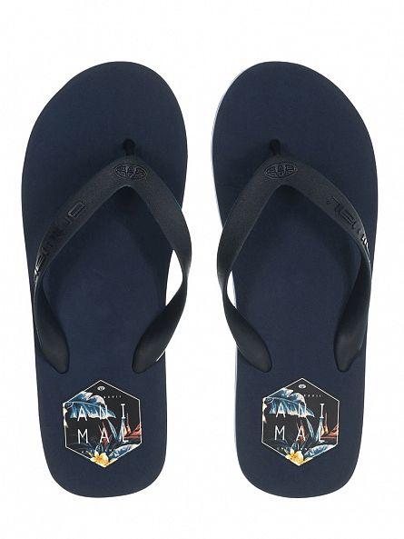 Animal Indigo Blue Costaz Logo Flip Flops