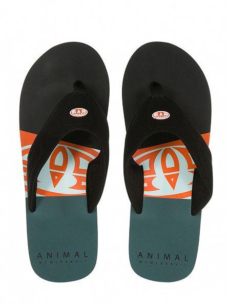 Animal Black Jekyl Slice Logo Flip Flops