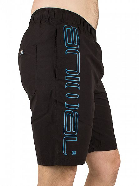 Animal Black Stretch Waist Vertical Logo Swimshorts