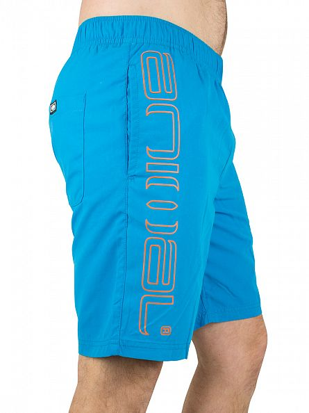Animal Kingfish Blue Stretch Waist Vertical Logo Swim Shorts