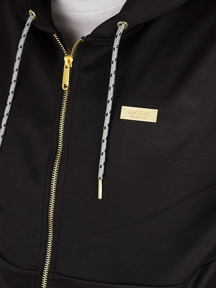 Crooks & Castles Black Spotter Knit Pattern Zip Hoodie
