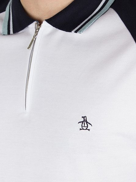 Original Penguin Crystal Blue/White Lynks Tipped Zip Polo Shirt