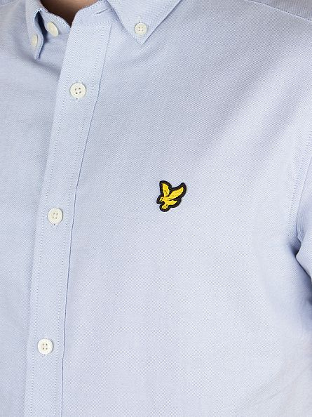 Lyle & Scott Riviera Blue Shortsleeved Button Down Oxford Shirt